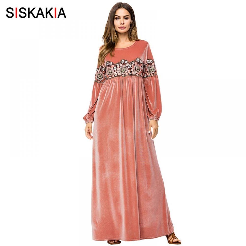 56dea13f99264 Siskakia Velvet long Dress Pink Embroidered Maxi Dresses Urban ...