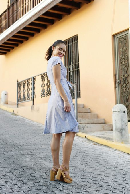 Evelyn Tie Dress Blue