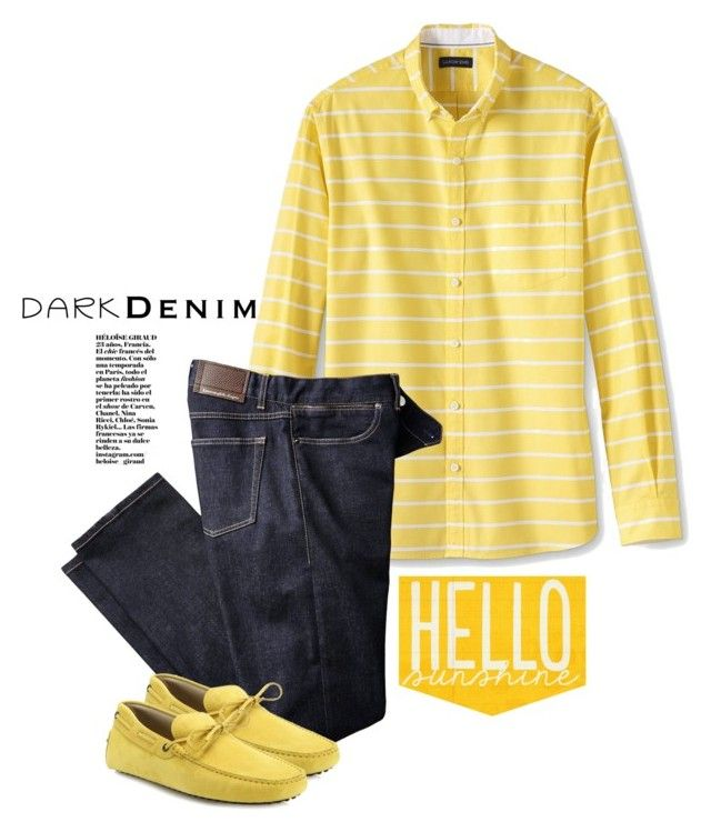 """Dark Denim And Sunshine"" by mmk2k ❤ liked on Polyvore featuring Lands' End, Tod's, men's fashion, menswear, darkdenim and menswearessential"