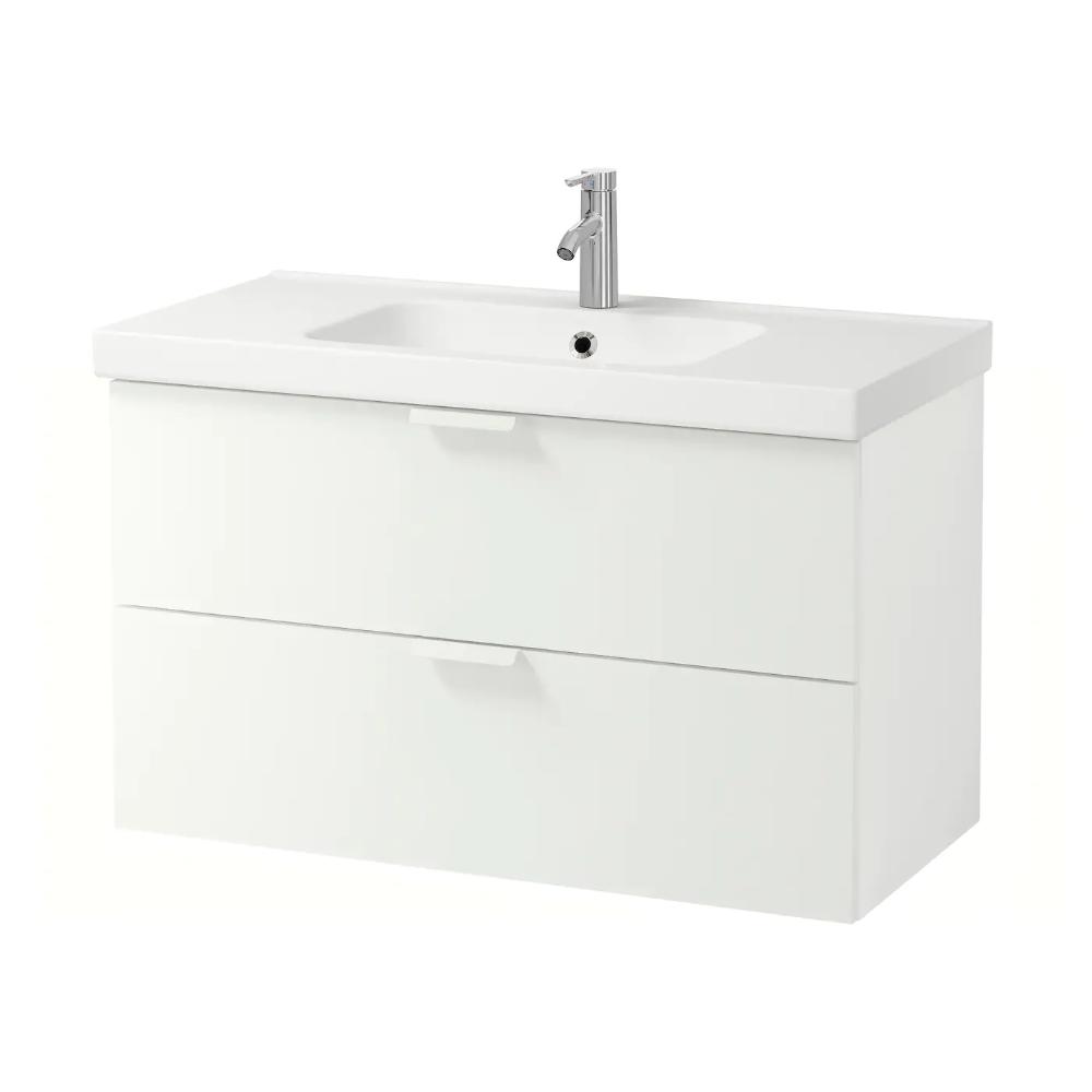 Ikea Godmorgon Odensvik Szafka Pod Umywalke Z 2 Szufladami Bialy Bateria Dalskar Bateria I Sitko W Z In 2020 Ikea Godmorgon White Vanity Bathroom Ikea Bathroom