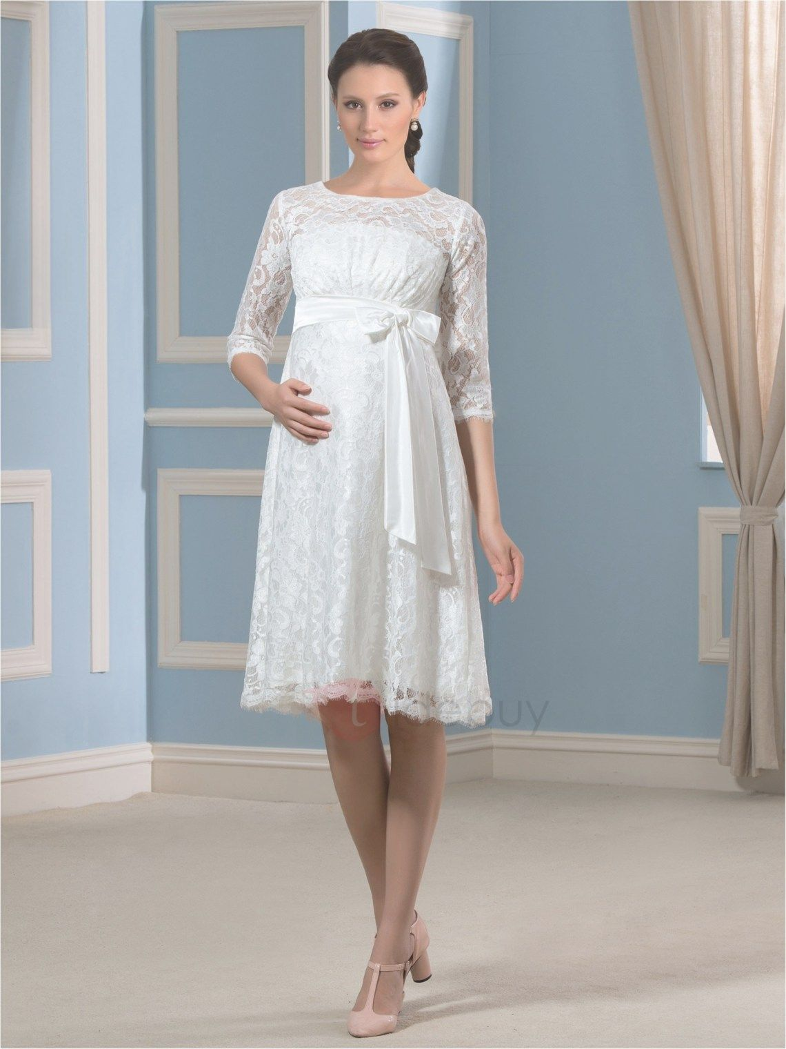 Knee-Length Short Lace Empire Waist Maternity Wedding Dress with ...