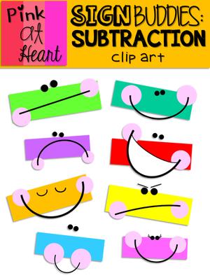sign buddies subtraction clip art clip art rh pinterest com subtraction clipart black and white addition subtraction clipart
