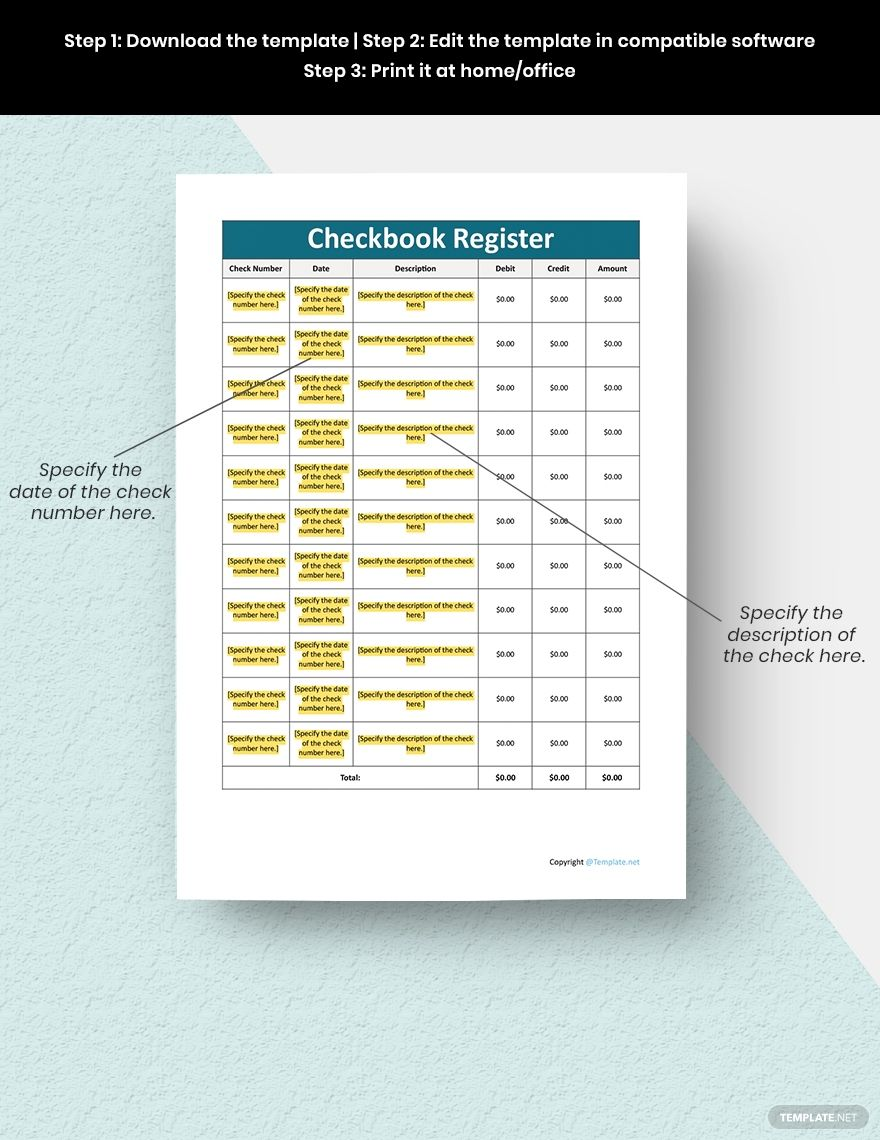 Checkbook Register Template Google Docs Google Sheets Excel Word Apple Numbers Apple Pages Template Net Checkbook Register Document Templates Templates