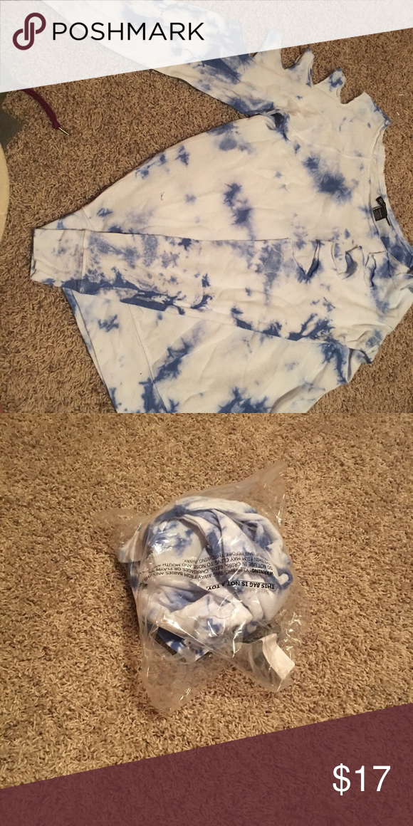Tie dye sweater! Blue and white dyed sweater! Rips on shoulders! Brand new never been worn! Sweaters Crew & Scoop Necks
