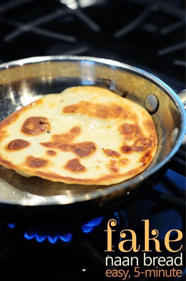 Fake Naan Bread {Easy, Vegan, 5-Minute} www.theminiaturemoose.com