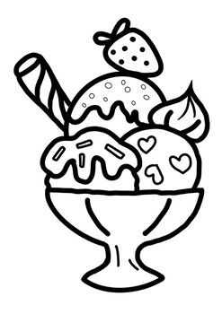 Coloring image Summer ice cream printable page in 2020 ...