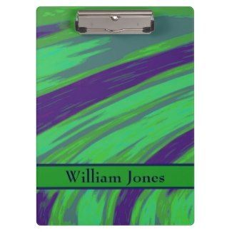 Customized Clipboards Green Blue Design #zazzle #office #supplies