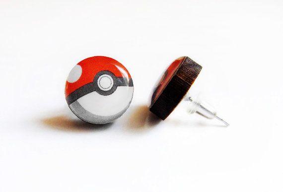 Cherry Wood Pokeball Stud Earrings Pokemon R Fake Plugs Hypoallergenic Eco Friendly