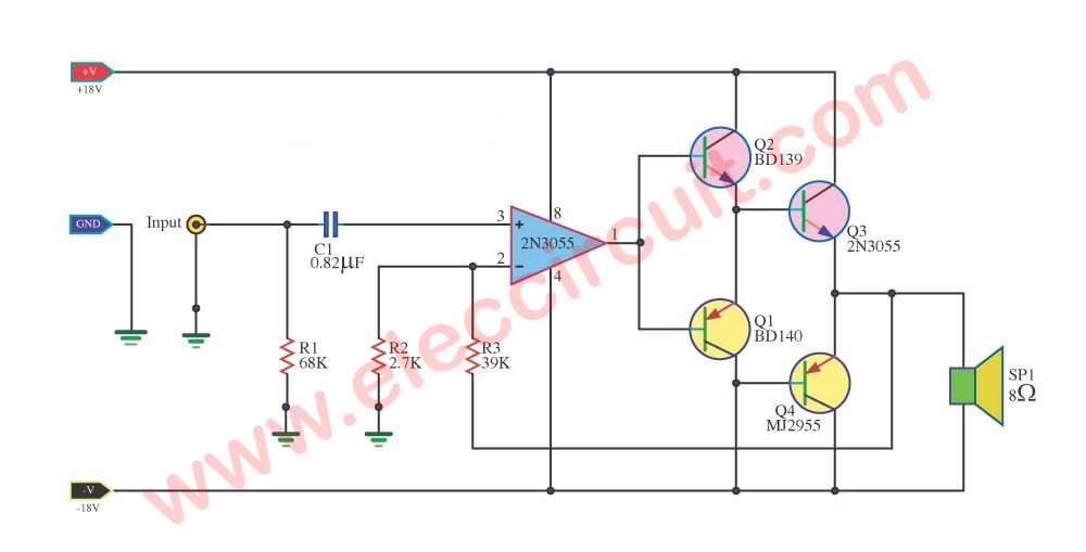 small class b audio amplifier circuit diagram power amplifiers