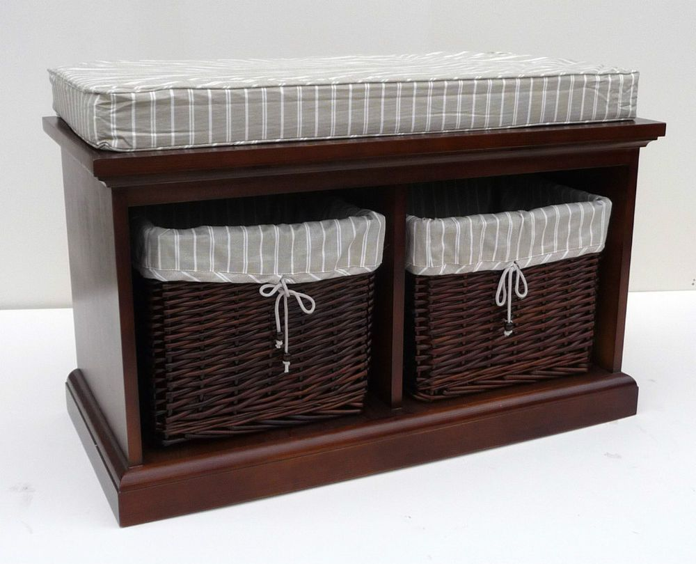 Tobs furniture storage bench seat dark wood 2 wicker basket drawers cushion classic glam Bench with baskets