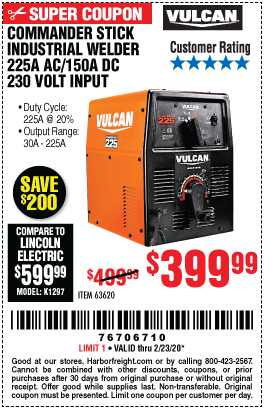 Vulcan Commander Stick Industrial Welder 225a Ac 150a Dc 230 Volt Input For 399 99 In 2020 Harbor Freight Tools Shielded Metal Arc Welding Welders