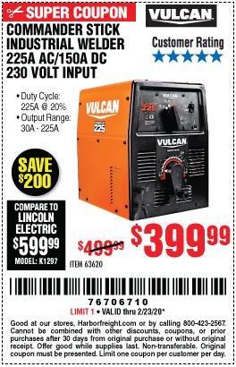 Vulcan Commander Stick Industrial Welder 225a Ac 150a Dc 230 Volt Input For 399 99 In 2020 Harbor Freight Tools Shielded Metal Arc Welding Welders