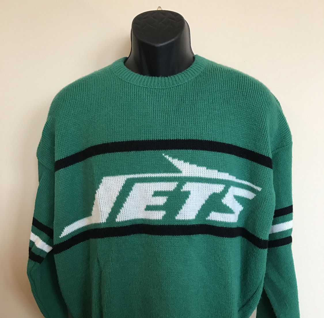 752e48439 80s Cliff Engle NY Jets Sweater Vintage New York Footbal NFL Jersey Shirt  Super Bowl 90s Joe Namath Large L Made In USA