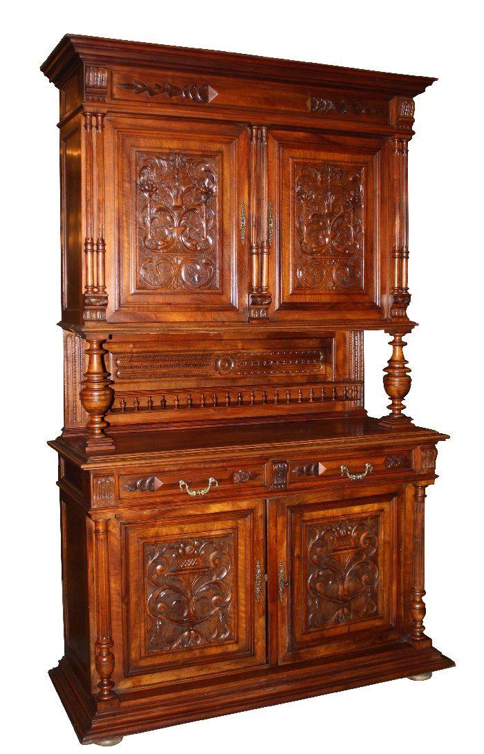 Henri II buffet in walnut with urn focal & foliate | Furniture ...