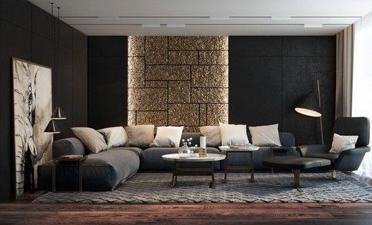 texturierte schwarze wände mit indirekter wandbeleuchtung für