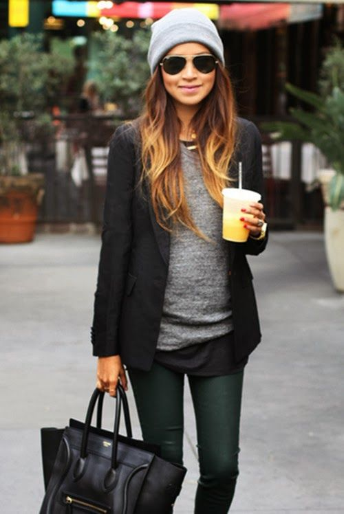 Black and grey fall street style fashion ... layering with a blazer,  sweater, skinny jeans, and oversized bag. 2ebd0f0d36c7