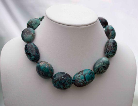Huge Polished Turquoise Nacklace by Noduri on Etsy, $150.00