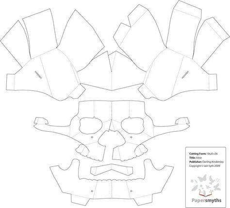 3D Paper Skull Template Mas
