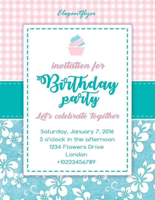 Birthday Party Invitation Free Flyer Template  Http
