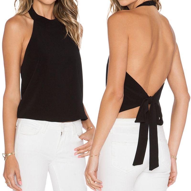Women Open Bust Crop Top Backless Sleeveless Tops T-Shirt V-Neck Blouse Tee US