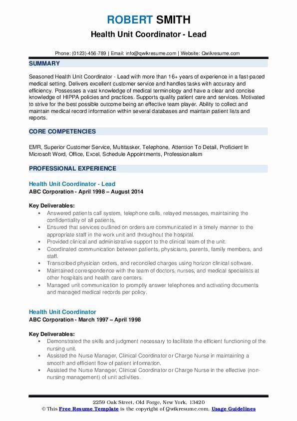 Health Unit Coordinator Job Description Resume Elegant ...