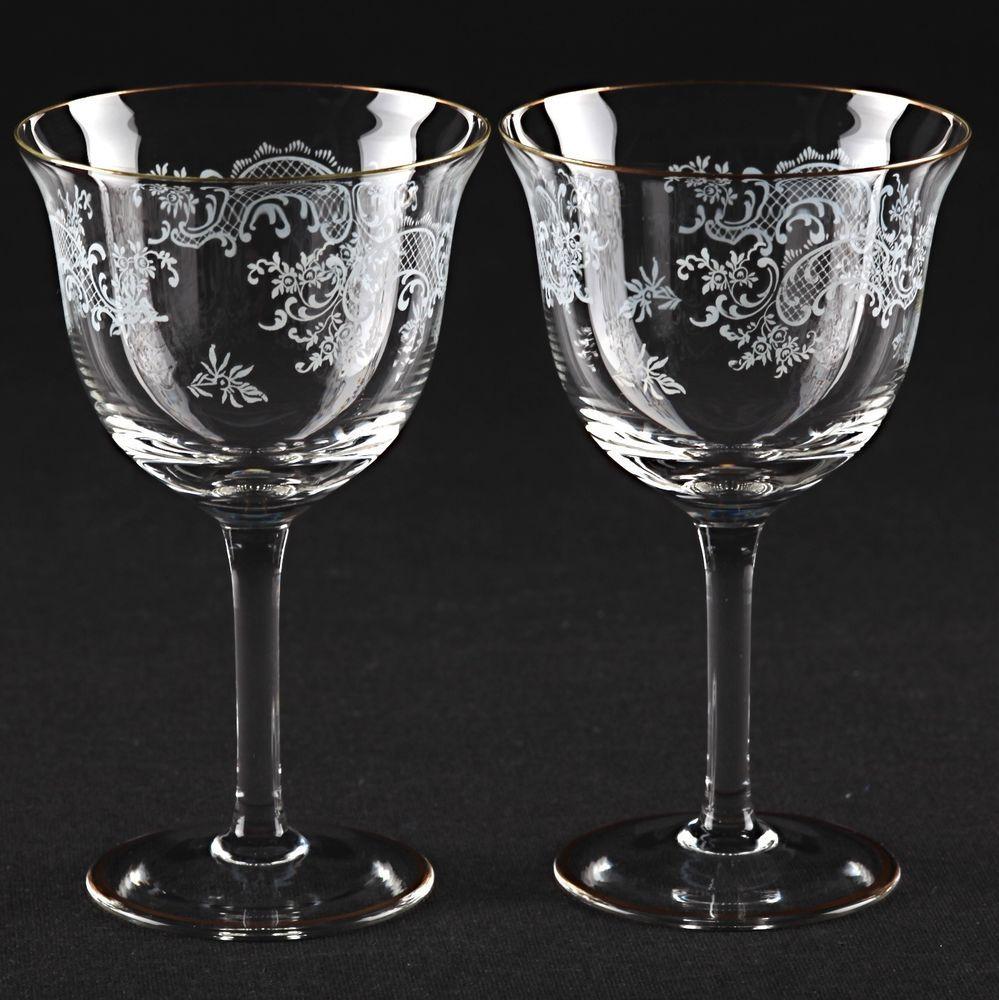 2 zarte Vintage Weingläser Gläser Goldrand Barock Rokoko Dekor weiß ...