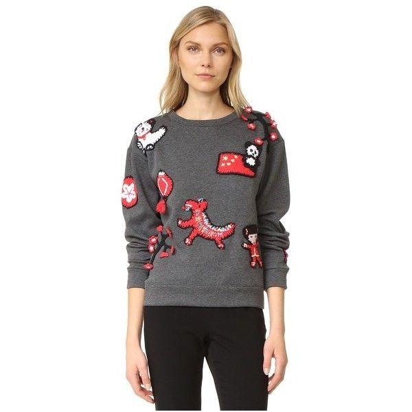 Michaela Buerger China Sweatshirt featuring polyvore, women's fashion, clothing, tops, hoodies, sweatshirts, dark grey, long sleeve crochet top, long sleeve tops, long sleeve sweatshirt, crochet tops and crew-neck sweatshirts