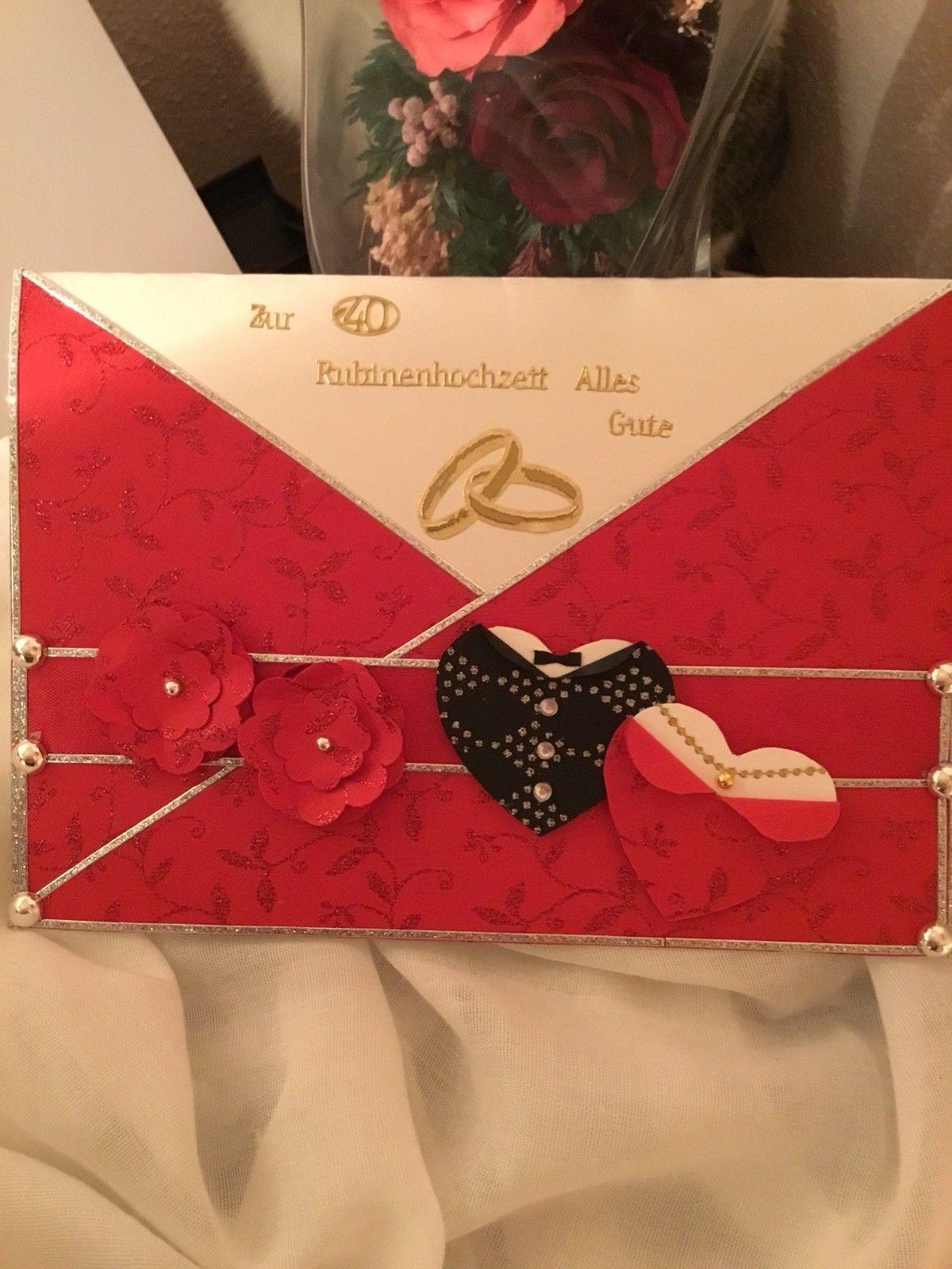 3d Grusskarte Gluckwunsch Karte Zur Rubin Hochzeit 40 Jahre Edle Handarbeit Gluckwunschkarte Geburtstagskarte Rubinhochzeit
