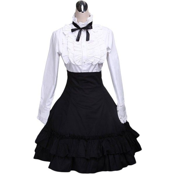 AvaLolita Lolita Cotton White Blouse Black Ruffled Skirt Outfits ($21) ❤ liked on Polyvore featuring tops, blouses, dresses, frill top, flounce top, cotton blouses, white tops and white ruffle top