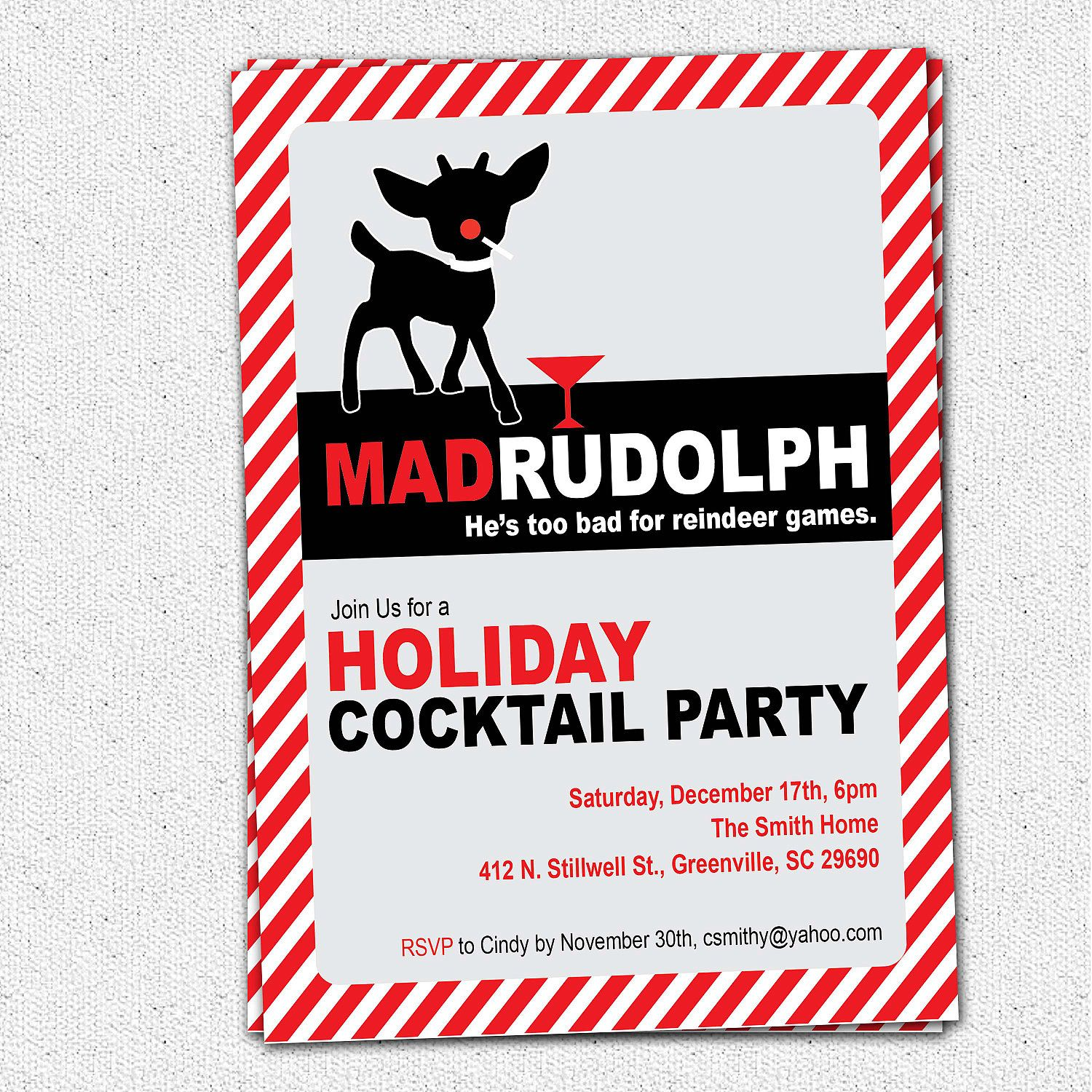 mad men rudolph the red nosed reindeer funny christmas holiday party invitation retro printable diy digital file - Funny Christmas Party Invitations