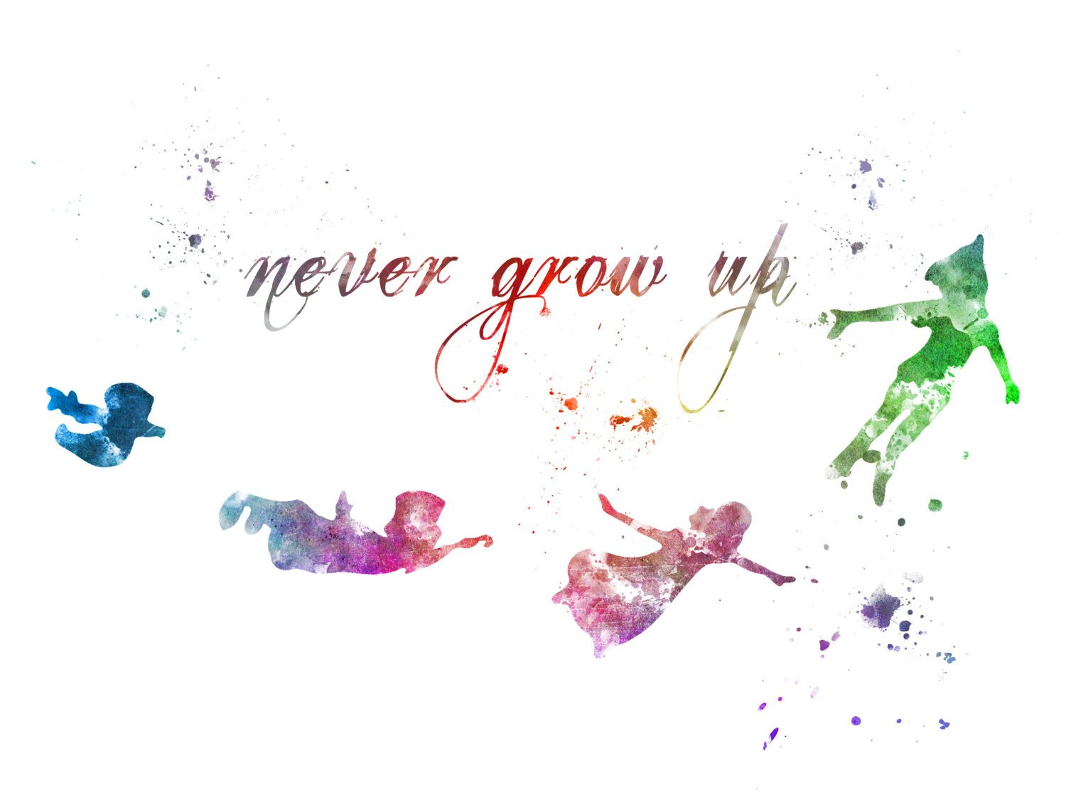 Peter Pan Quote Never Grow Up Art Print By Subjectart On