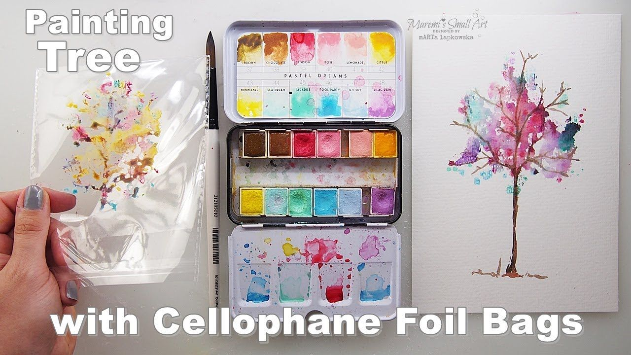 Painting Hack With Cellophane Foil Bags Watercolor Tree For Kids