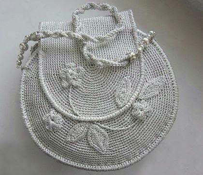 croche: handbag with rose