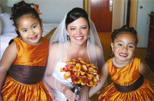 Burnt Orange Flower Girl Dresses With Chocolate Brown Sashes