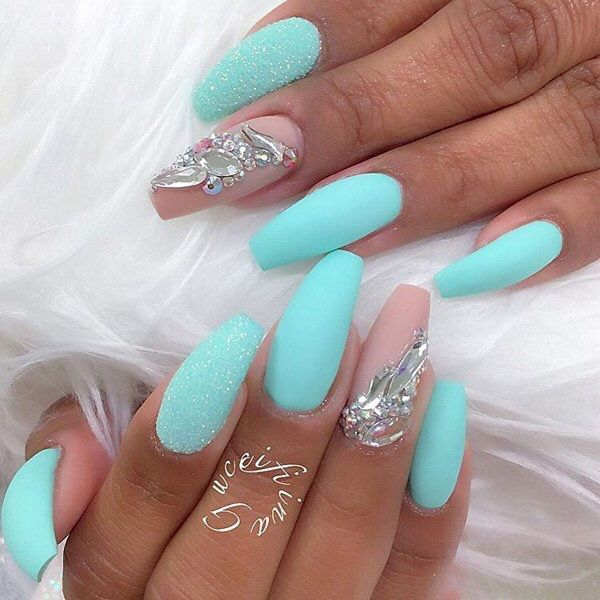 Turquoise Glitter Matt Coffin Nails Blue With Neon Matte