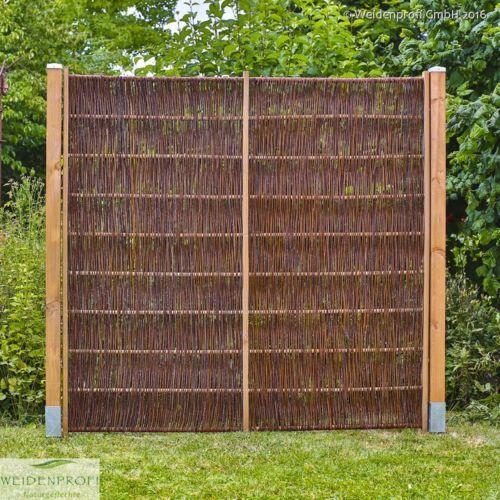 weidenzaun lato solid mit seitlichem rahmen weidenz une naturz une sichtschutz zaun garten. Black Bedroom Furniture Sets. Home Design Ideas