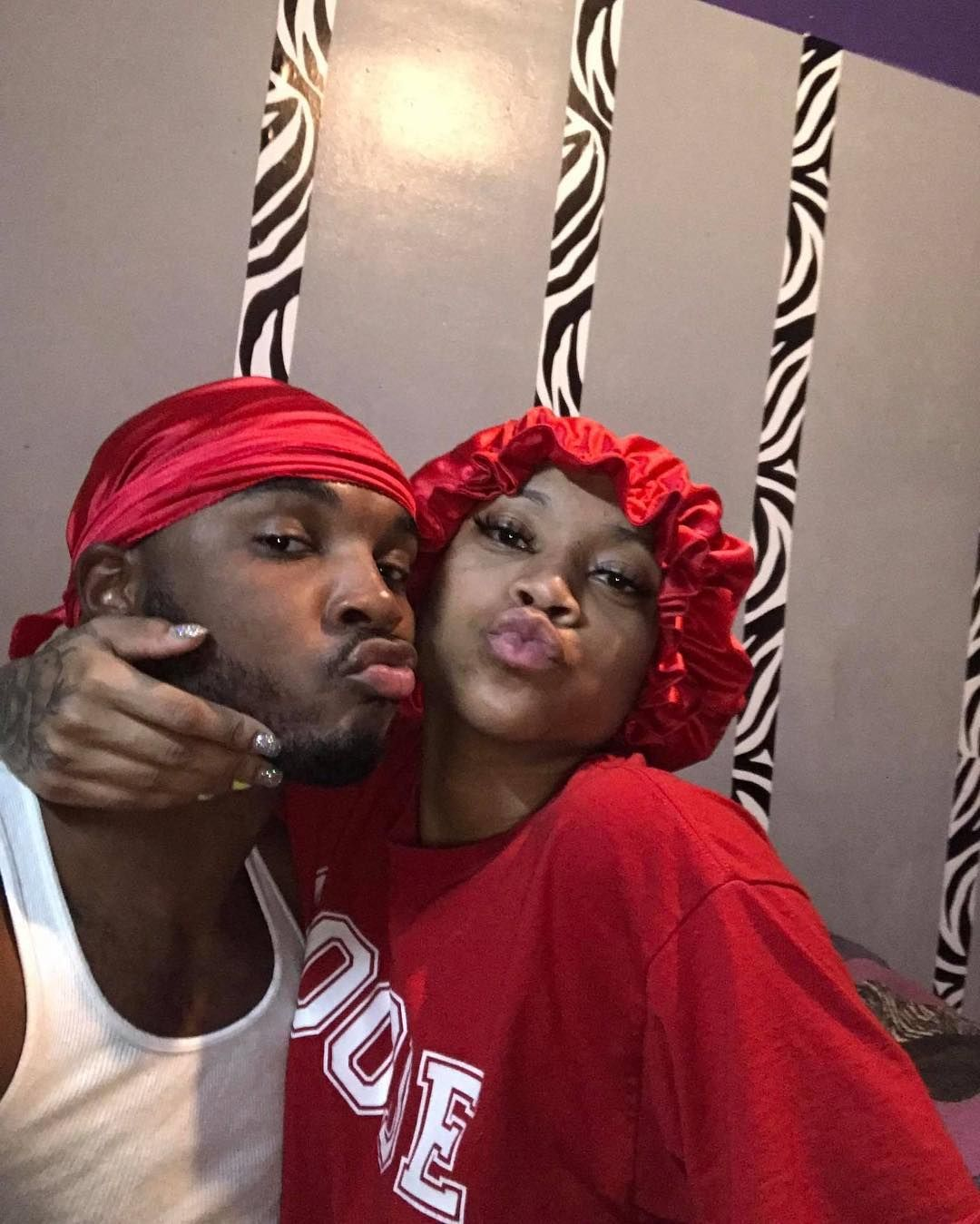 Durag and bonnet set by Posh and Lace, matching bonnet and durag set, couple goals, bae goals, African American couples, durag and nails, red bonnet a…