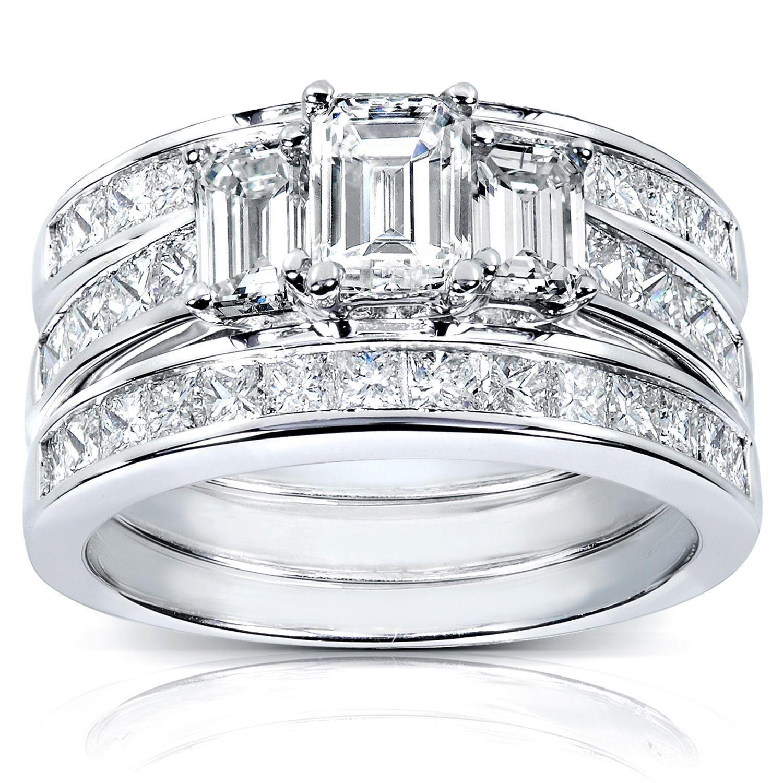 Annello by Kobelli 14k White Gold 2 12ct TDW Diamond 3piece Bridal