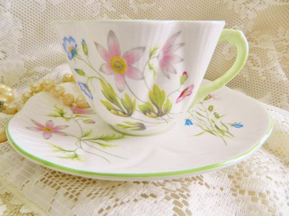 1925-40s Shelley Teacup Wild Anemone Teacup by SnowyCreekDesigns