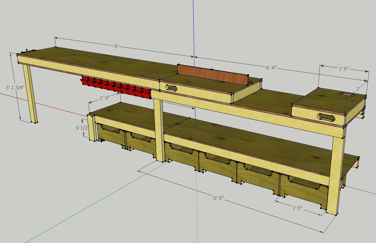 Built in workbench in garage callsign ktf plans for a for Working table design ideas