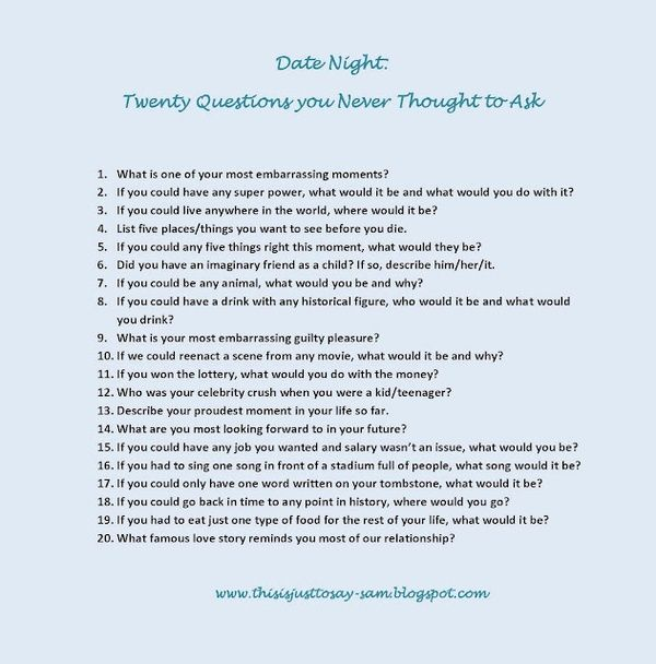 Date questions to ask your spouse