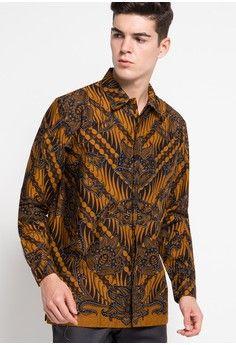 Danar Hadi brown Kemeja Panjang Batik Print Motif Parang Randu