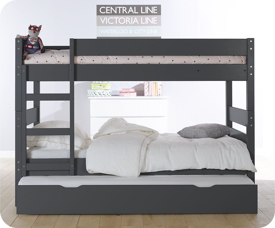 Lit superpos enfant 1 2 3 gris anthracite 90x190 cm avec for Chambre avec lit superpose