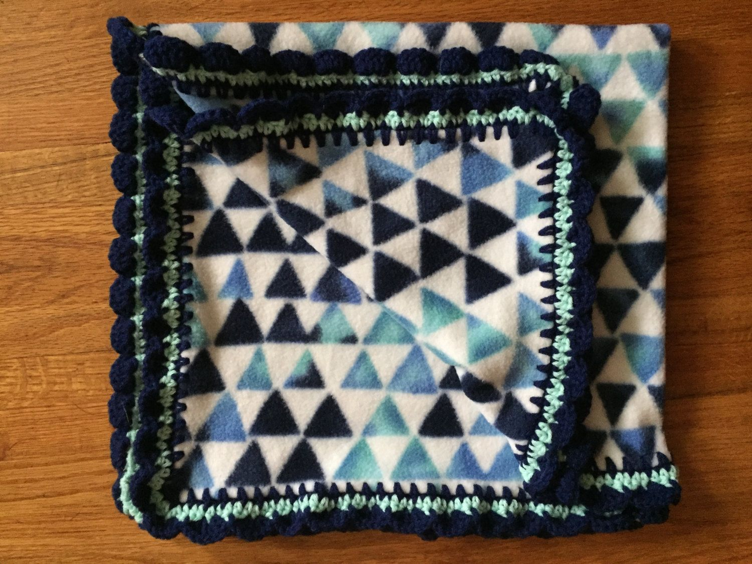 Blue Triangle Baby Blanket with Scalloped Edging, fleece baby blanket, crochet edge blanket, crochet baby blanket, stroller blanket by StitchesBySullivan on Etsy