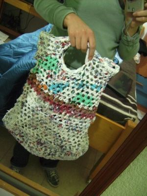 Recycled plastic yarn bag