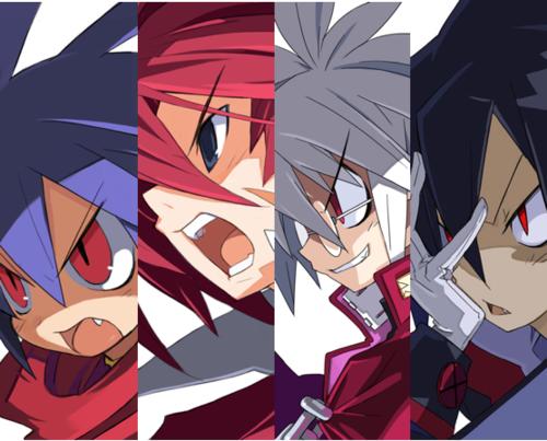 The main characters of Disgaea — Laharl, Adell, Mao, Valvatorez