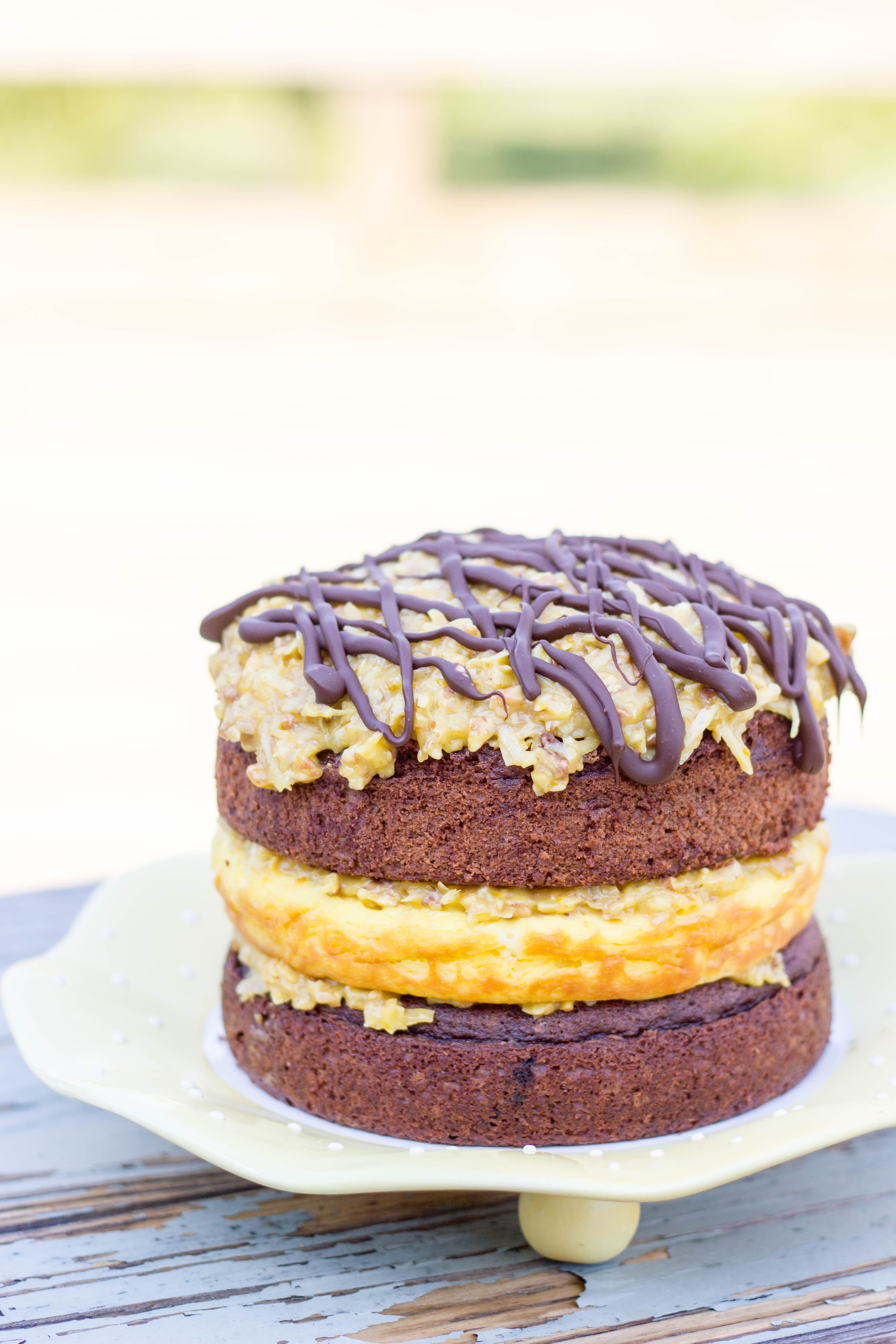 German Chocolate Cheesecake Cake : Kendra's Treats #germanchocolatecheesecake