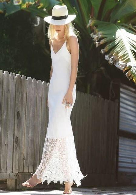 Yazlik Askili Uzun Beyaz Elbise Modeli 2015 Elbise Elbise Modelleri Kiyafet