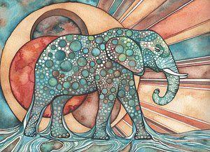 Abstract Painting - Sunphant Sun Elephant by Tamara Phillips