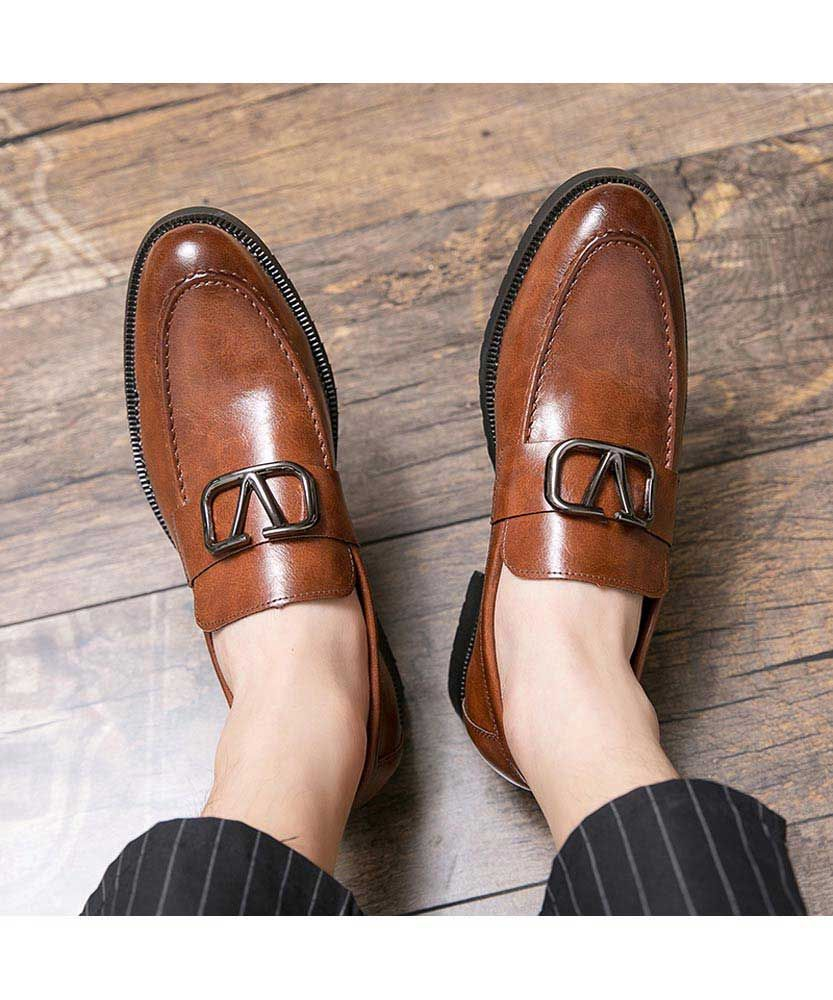 Brown rectangle metal buckle slip on dress shoe